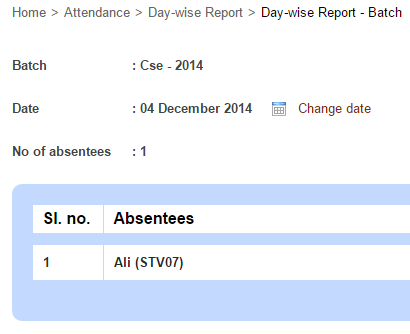Generate the student day-wise attendance report1