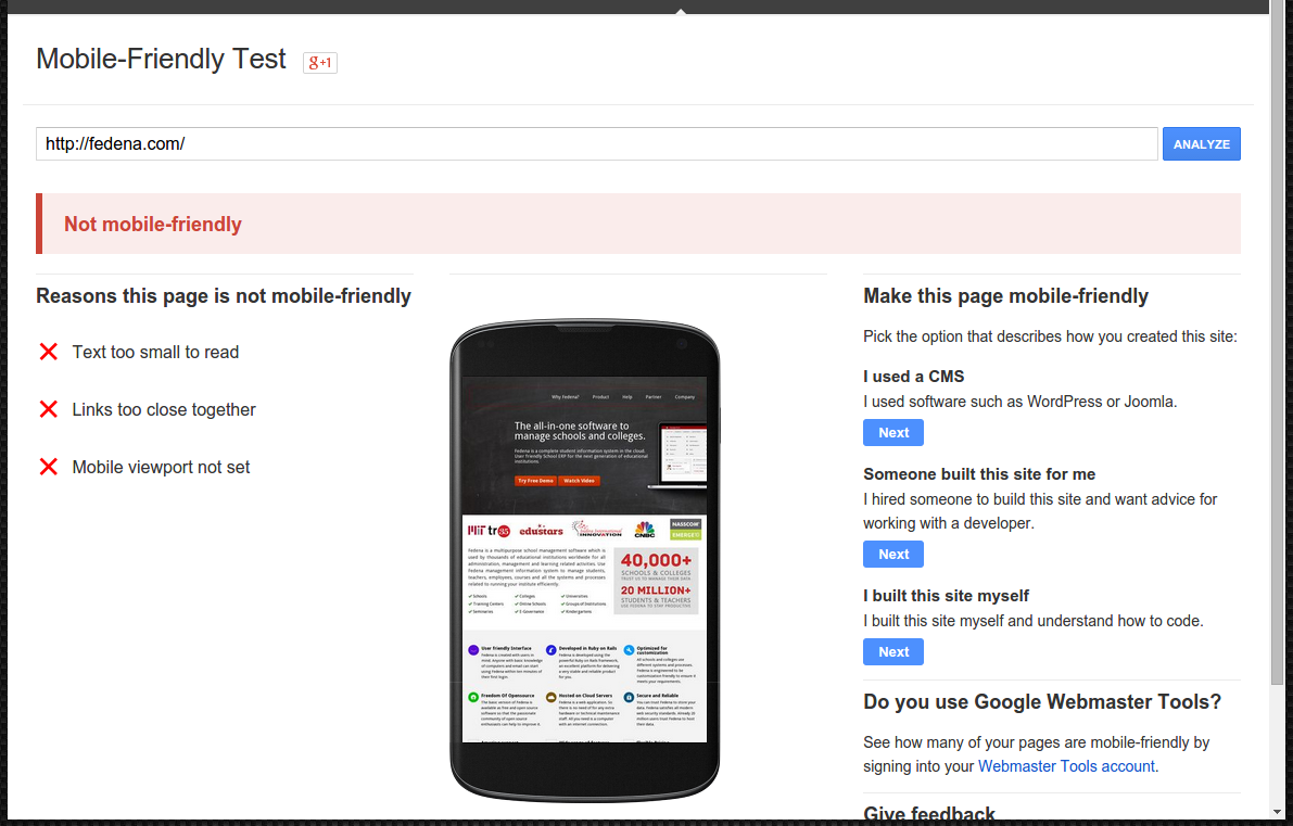 Code to make a website mobile friendly