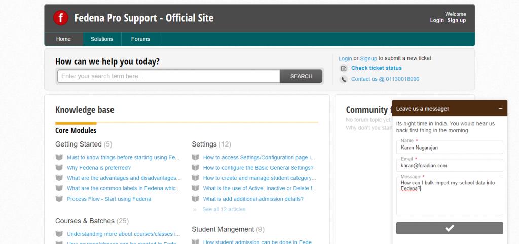 Fedena School ERP Support Chat