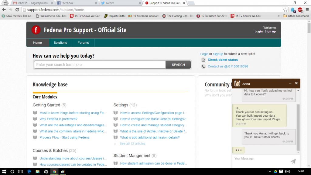 Fedena chat support screenshot