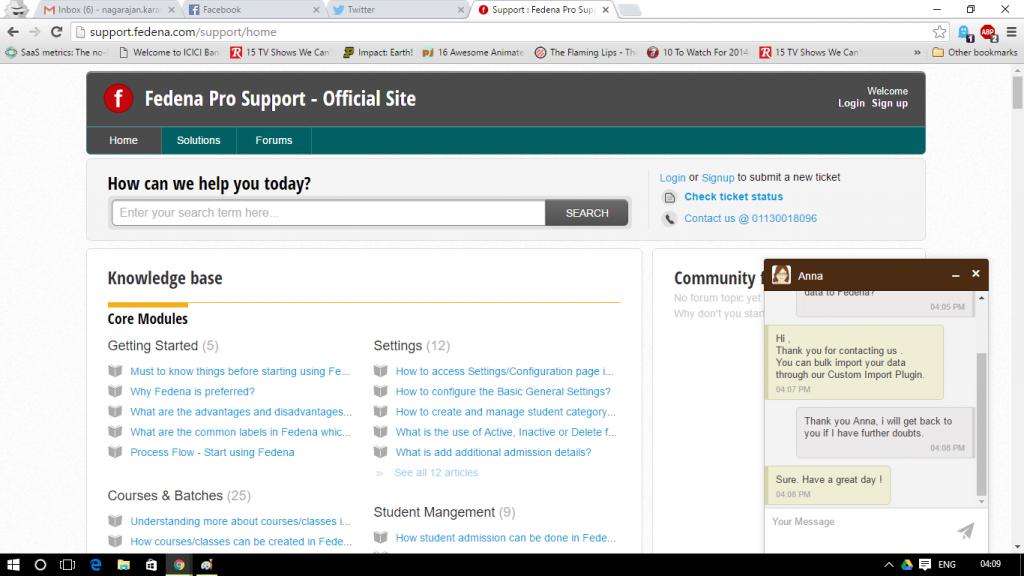 Fedena school ERP support chat screenshot