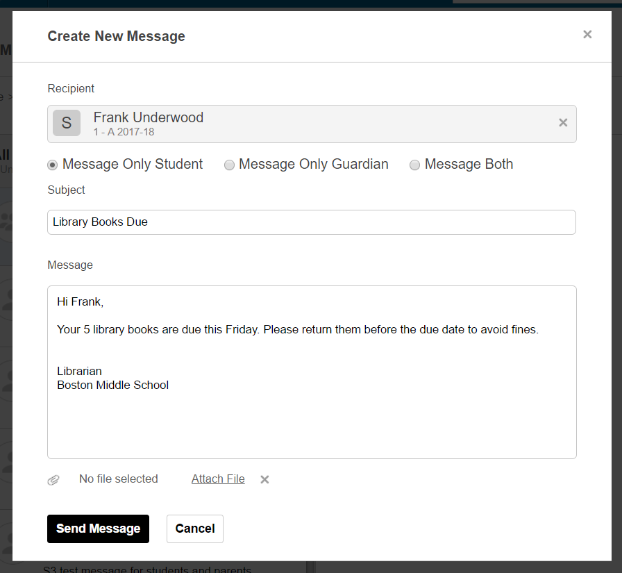 Fedena internal messaging screenshot image