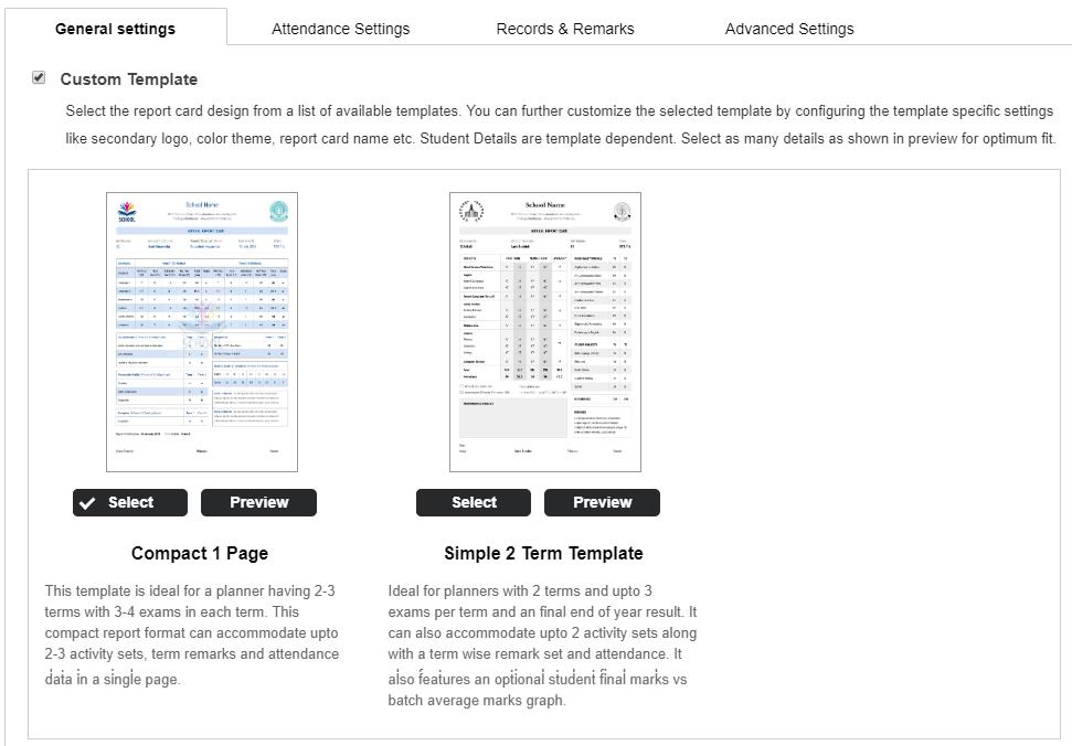 custom report card school management system