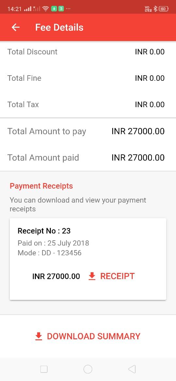 School ERP fees Receipt
